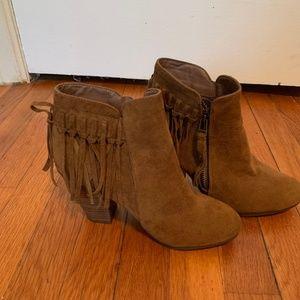 Dark Camel Tassel Ankle Boots